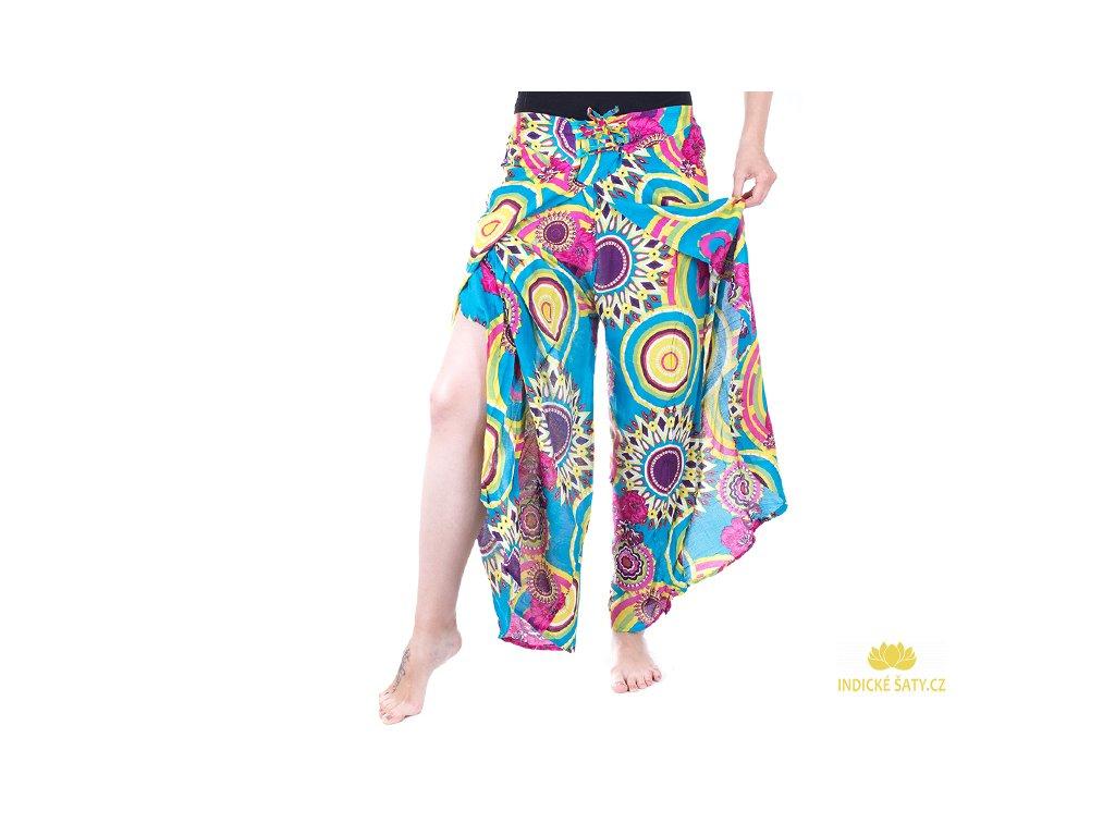 zavinovací kalhoty z Indie design světle modré