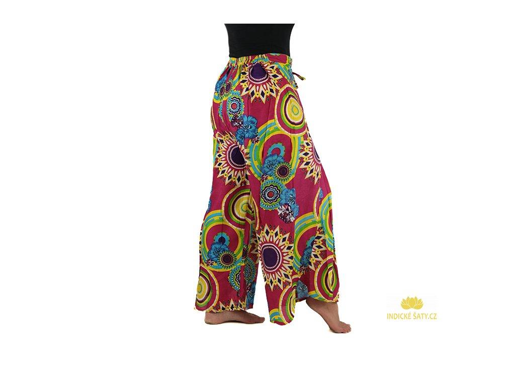 zavinovací kalhoty z Indie design fuchsiové zboku
