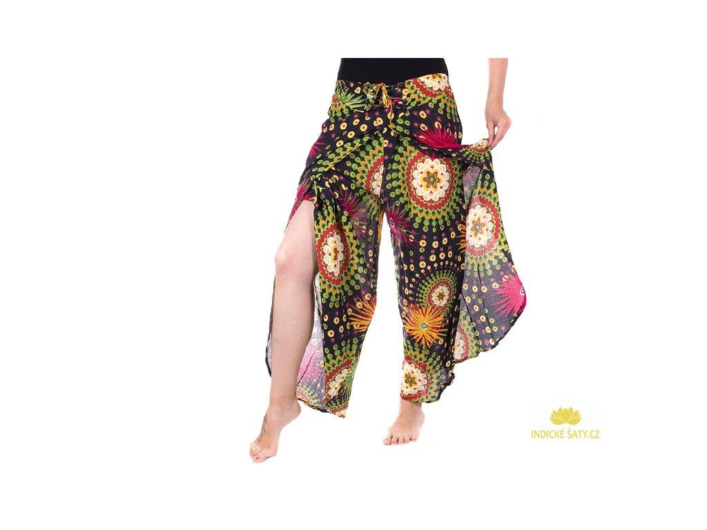 zavinovací kalhoty z Indie design černá