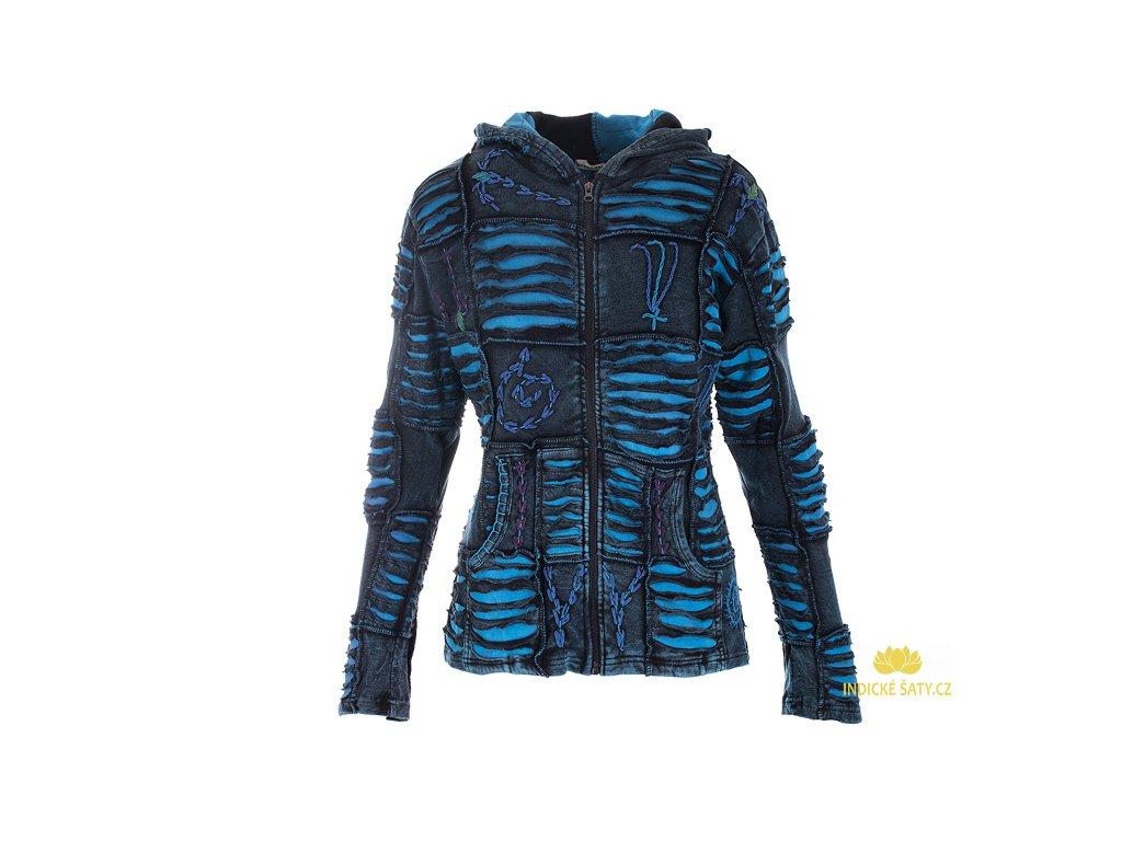 Originální etno mikina patchwork modrá