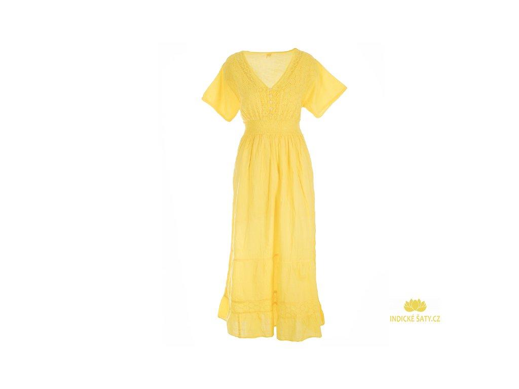 Dlouhé žluté šaty s rukávky