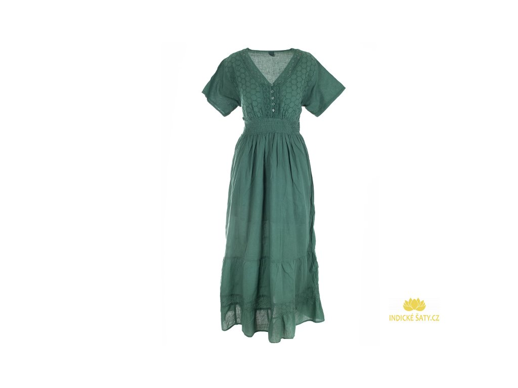 Dlouhé zelené šaty s rukávky