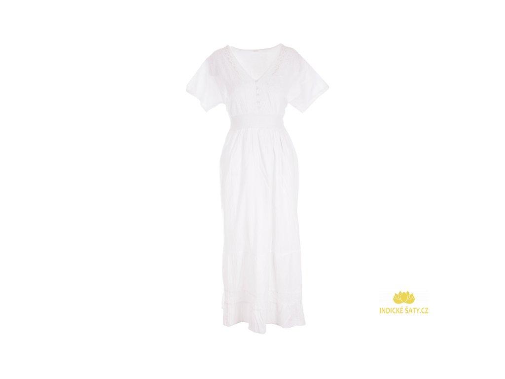 Dlouhé bílé šaty s rukávky
