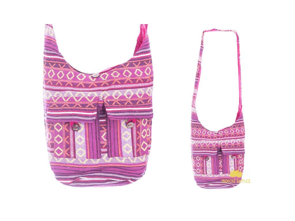 Indická taška přes rameno tkaná růžová