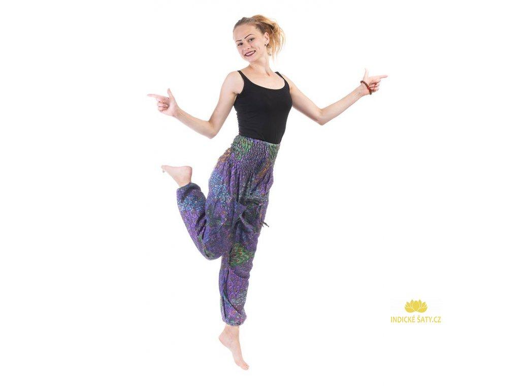 indické kalhoty s kapsami fialové ilust