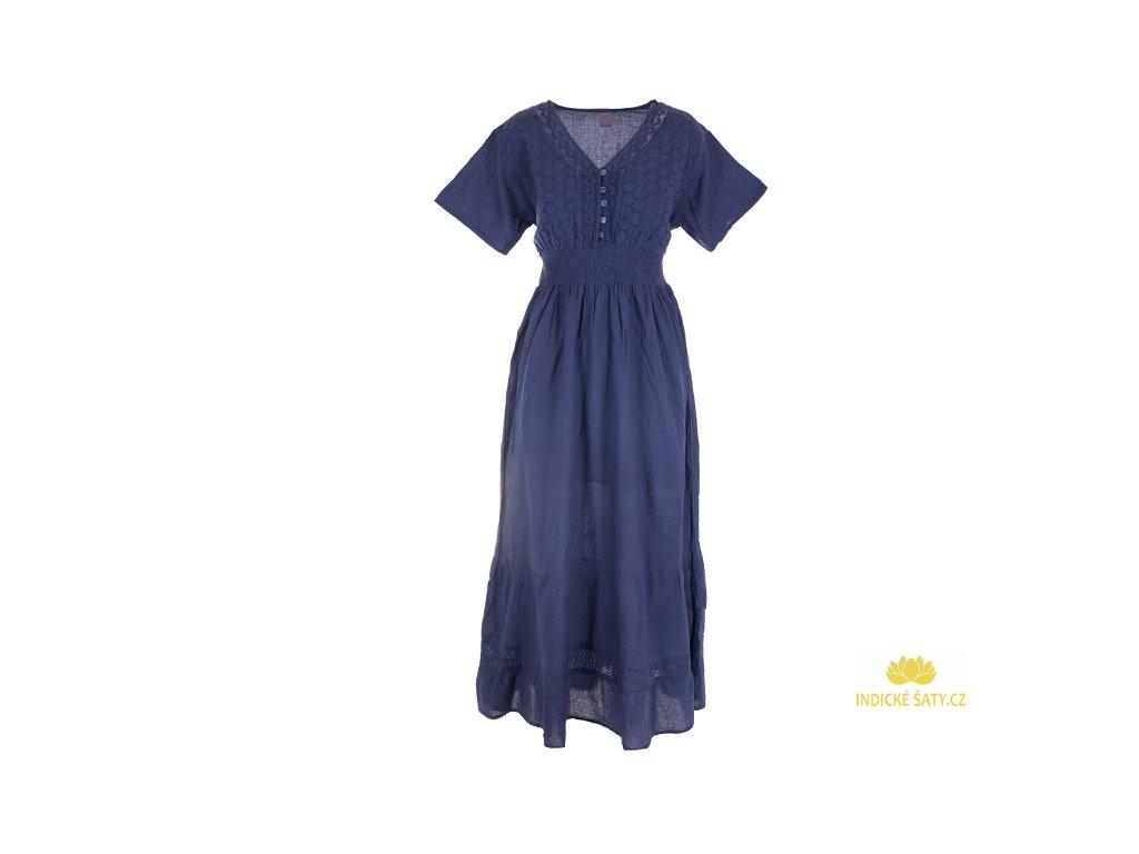 Dlouhé tmavomodré šaty s rukávky