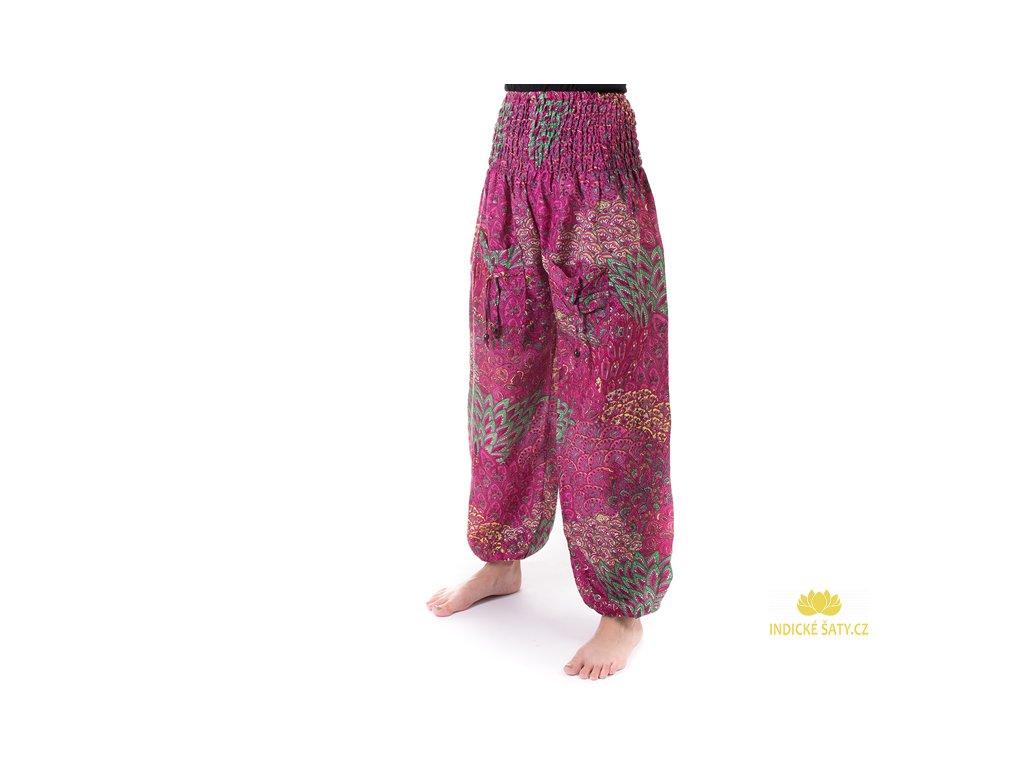 indické kalhoty s kapsami fuchsiové