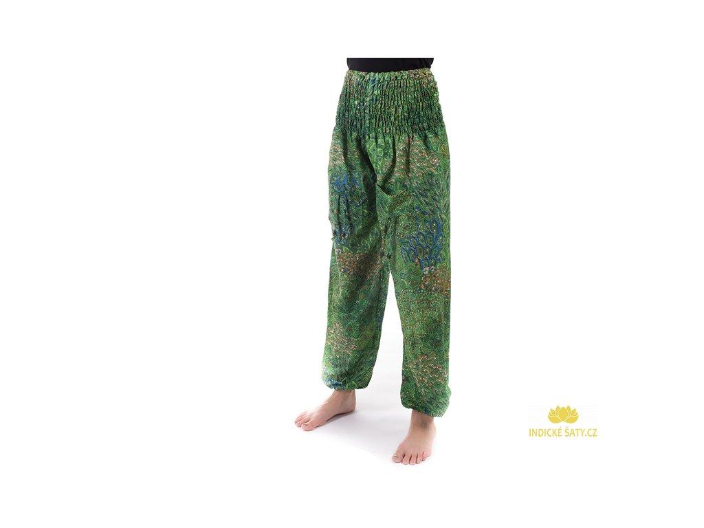indické kalhoty s kapsami zelené