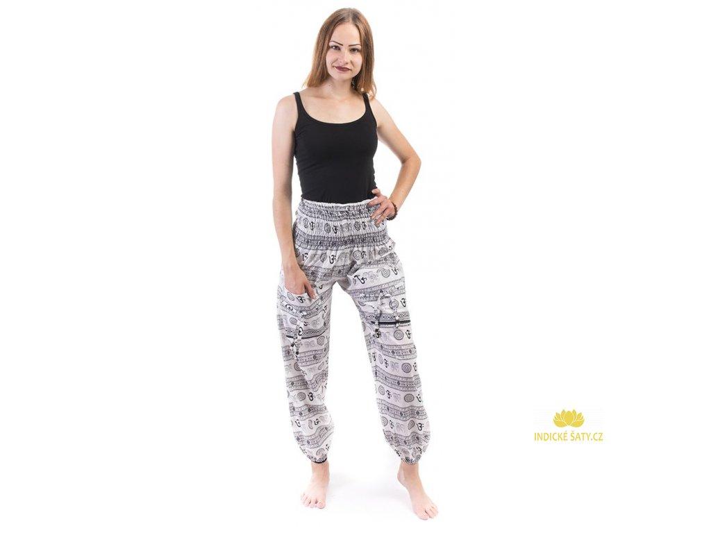 Indické kalhoty s kapsami Mantra černobílé