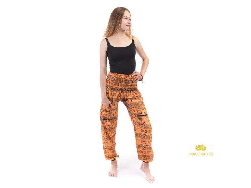Indické kalhoty s kapsami Mantra světle oranžové