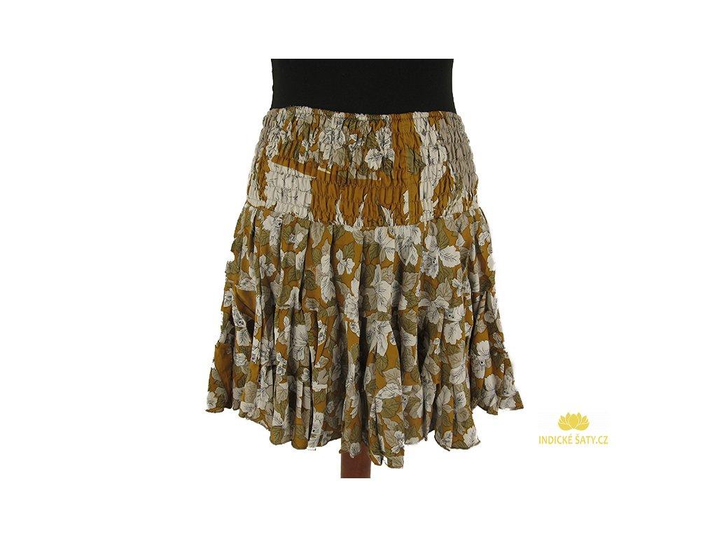 Krátká letní sukně z viskózy bílookrová