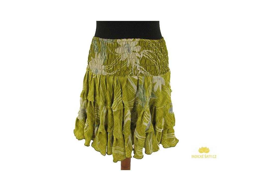 Krátká letní sukně z viskózy zelenkavá s květy