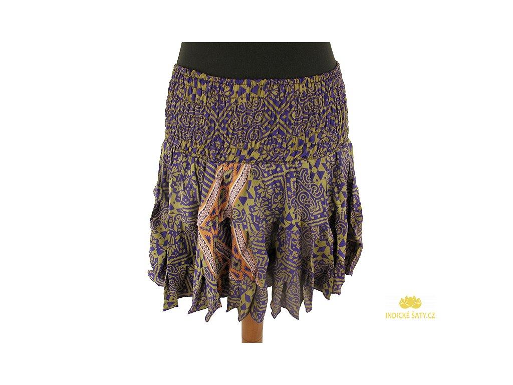 Krátká letní sukně z viskózy dofialova
