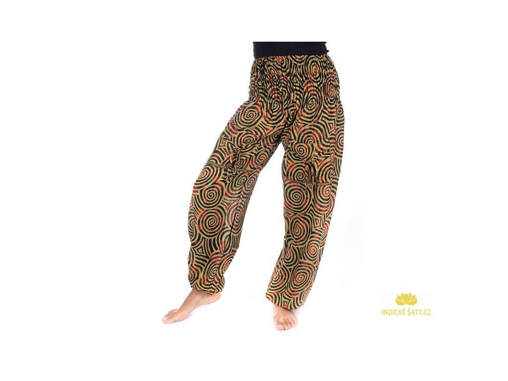 Indické kalhoty s kapsami Spirály khaki zelené