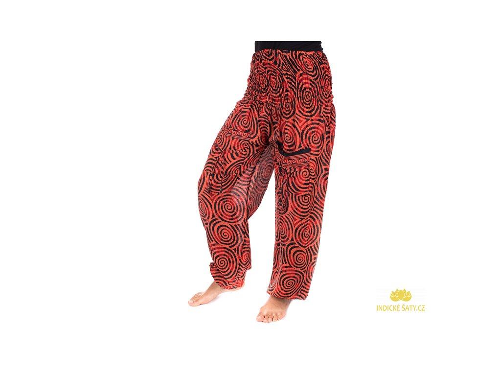 Indické kalhoty s kapsami Spirály cihlově červené