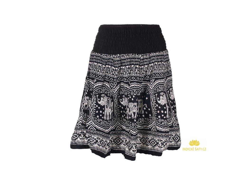 krátká sukně se slony černobílá