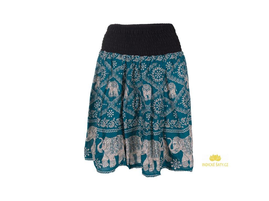 Krátká letní sukně se slony petrolejově modrá
