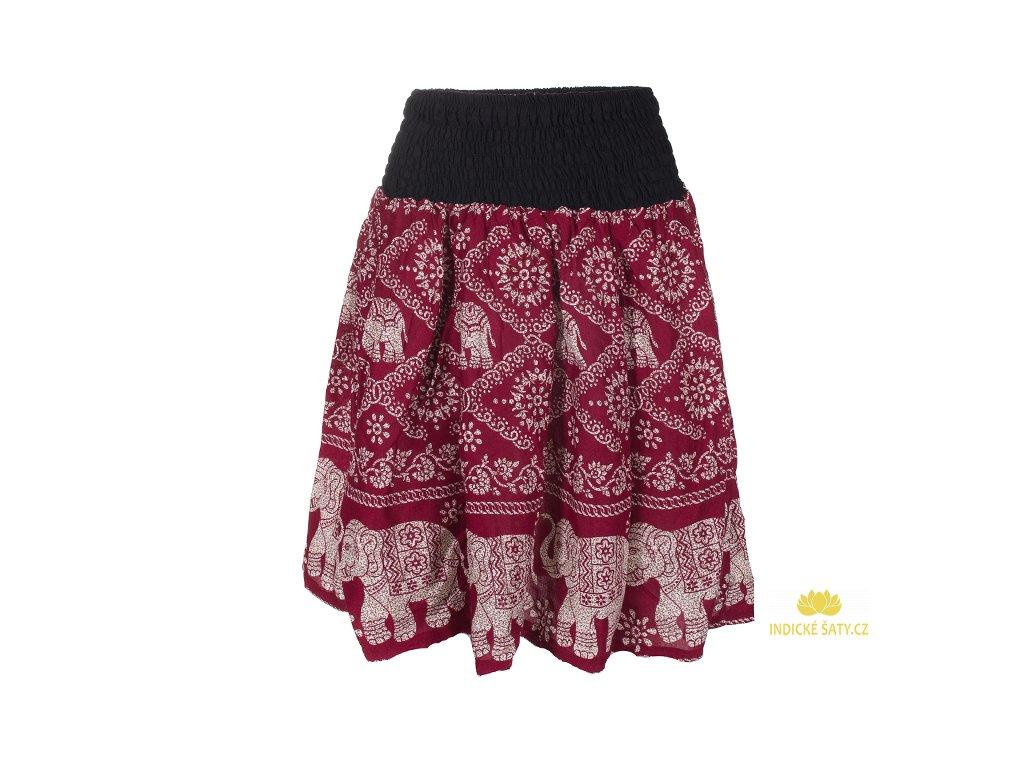 Krátká letní sukně se slony vínově červená