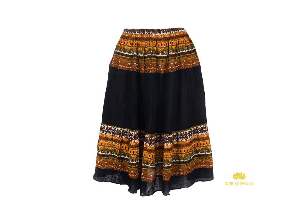 černá etno sukně rezavohnědý design volná