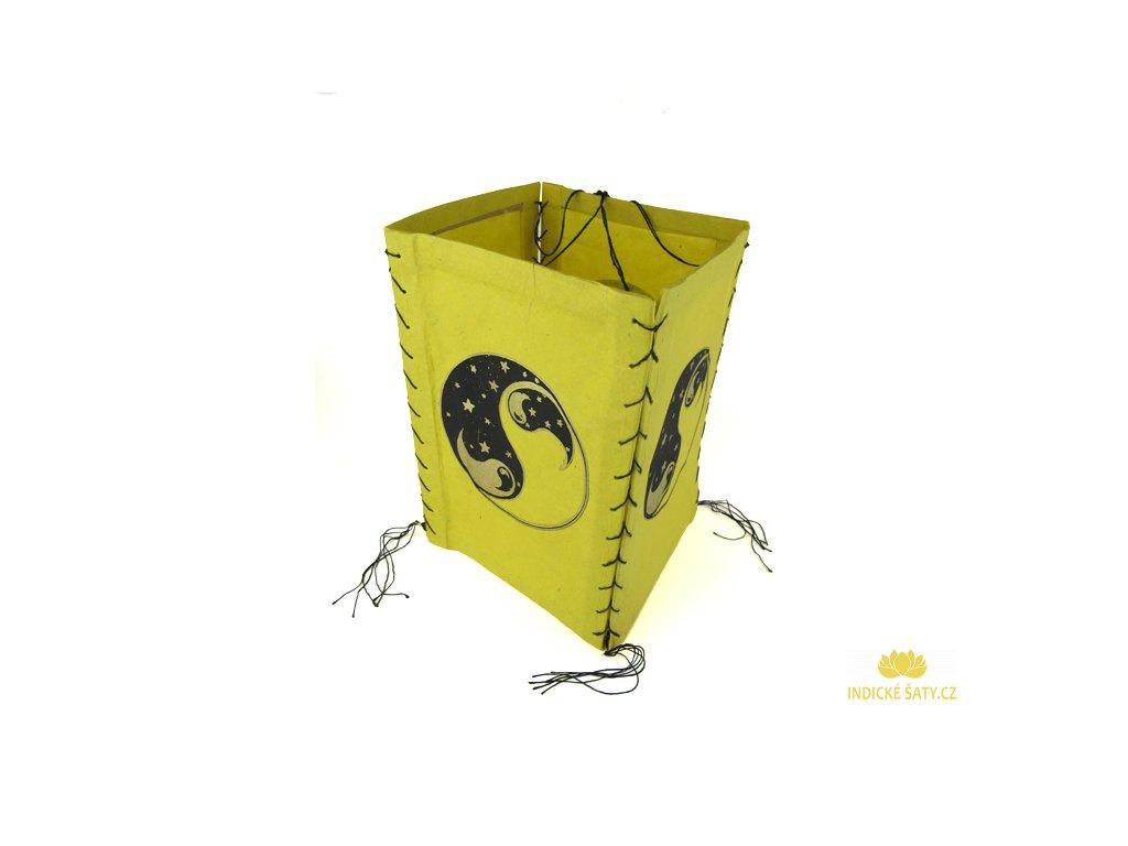 Lampion z ručního lokta papíru Jin a Jang žlutý
