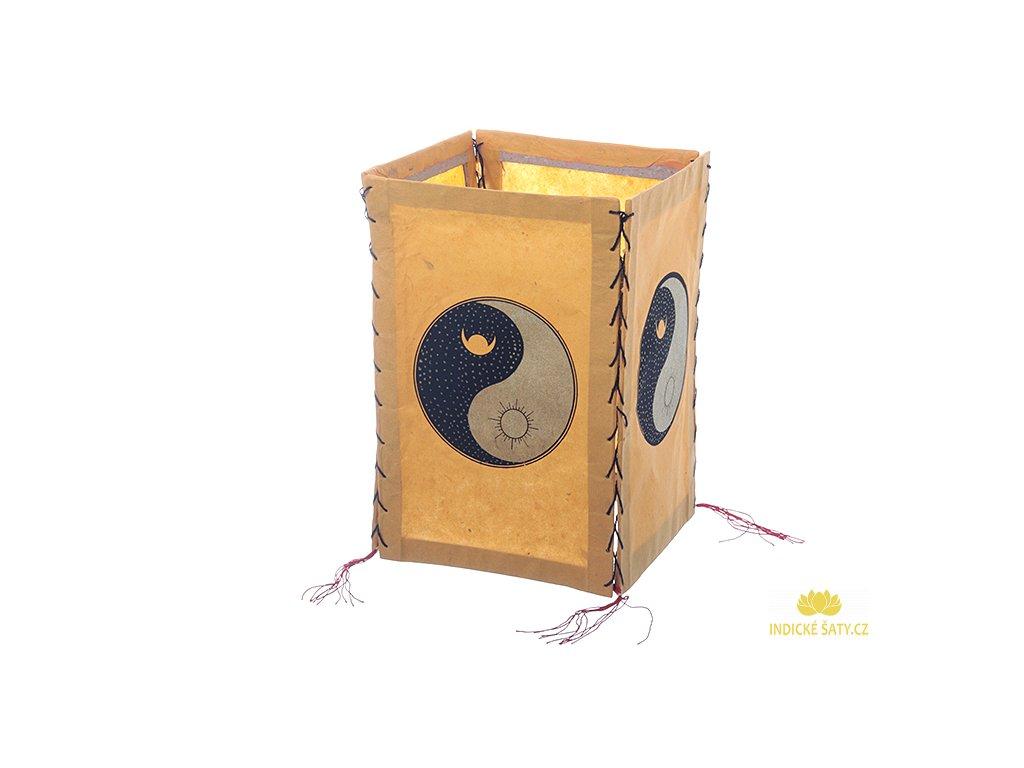 Lampion z ručního lokta papíru Jin a Jang žlutozlatý