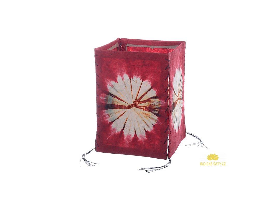 Lampion z ručního lokta papíru Batika červený