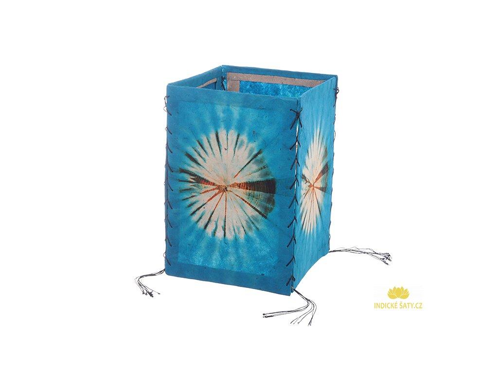 Lampion z ručního lokta papíru Batika modrý
