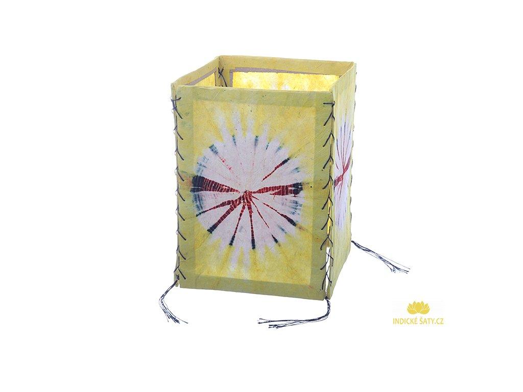 Lampion z ručního lokta papíru Batika žlutý