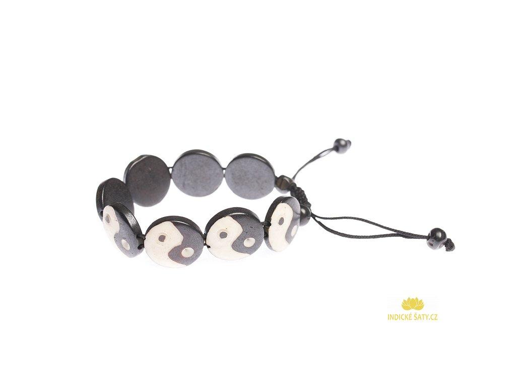 Stahovací náramek z buvolí kosti Jin a jang