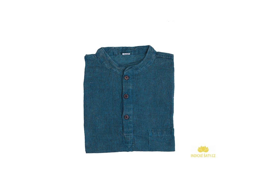 Pánská kurta s dlouhým rukávem stonewash modrá