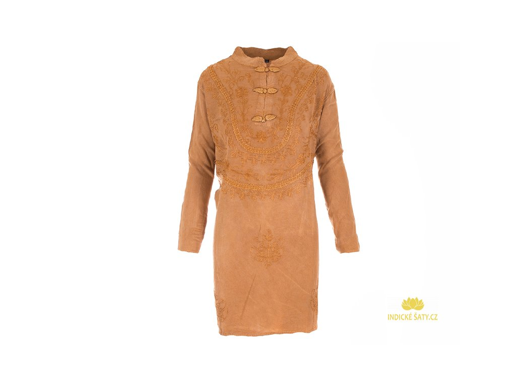 Tunikové šaty s dlouhým rukávem světle hnědé