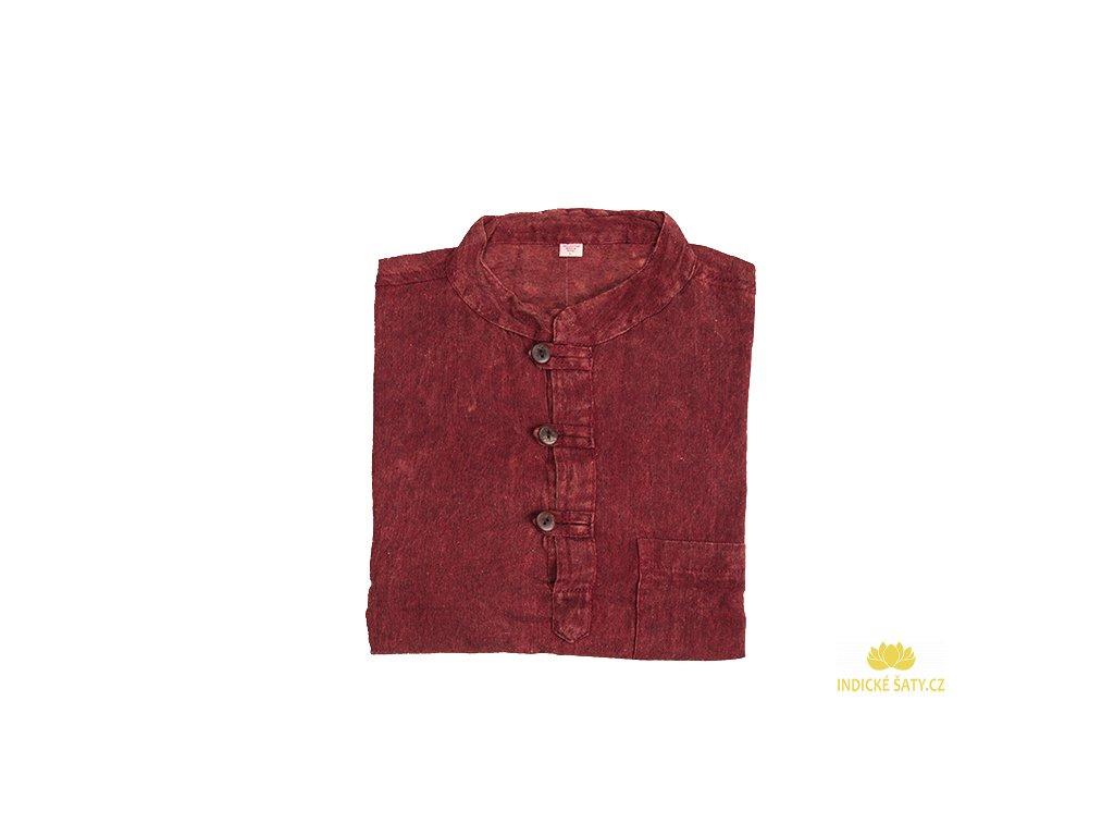Pánská kurta s dlouhým rukávem stonewash červená