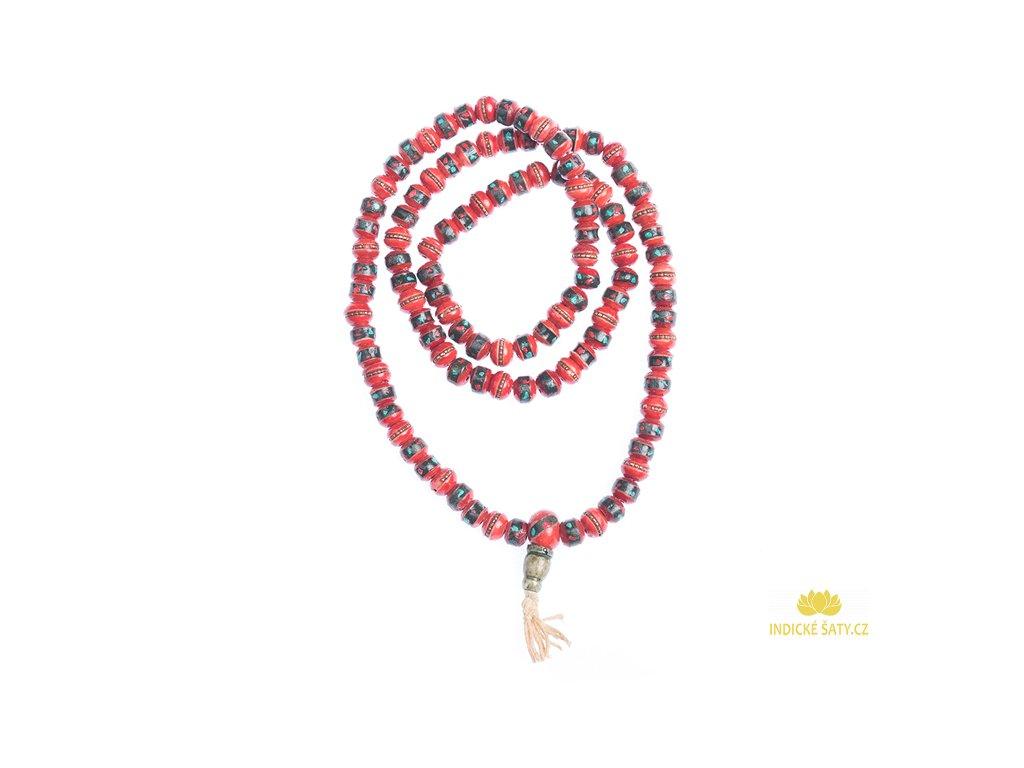 Originální kostěná japa mala červená