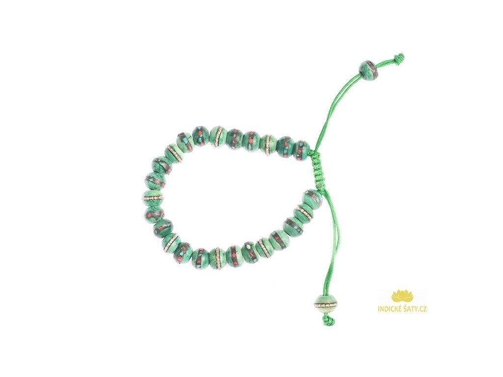 Shamballa stahovací náramek z vykládané kosti zelený