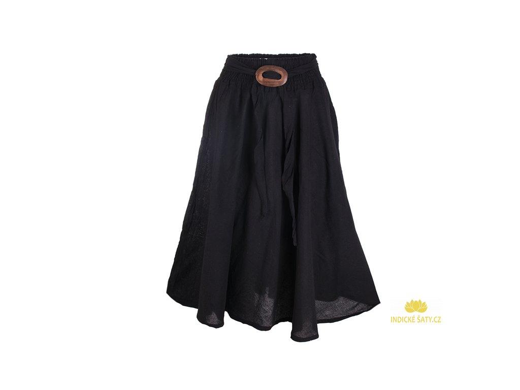 Dlouhá bavlněná sukně se sponou černá