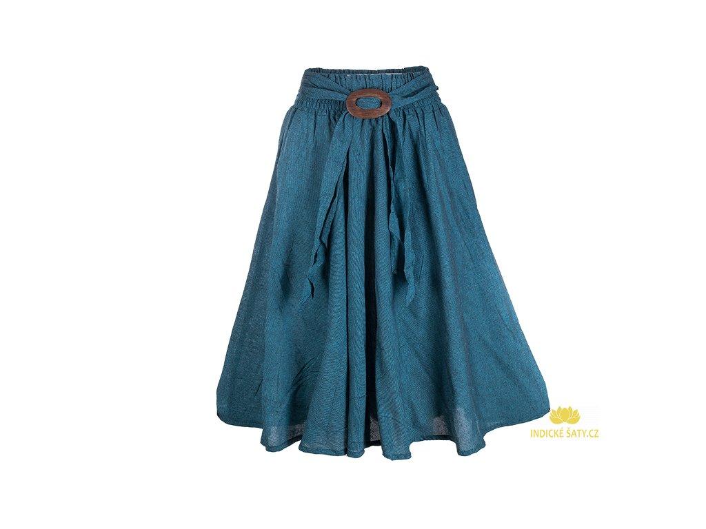 Dlouhá bavlněná sukně se sponou petrolejově modrá