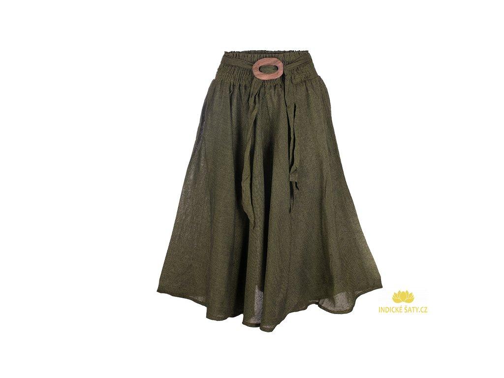 Dlouhá bavlněná sukně se sponou zelená