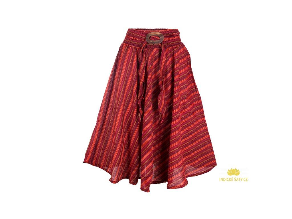 Dlouhá bavlněná sukně se sponou pruhovaná červená