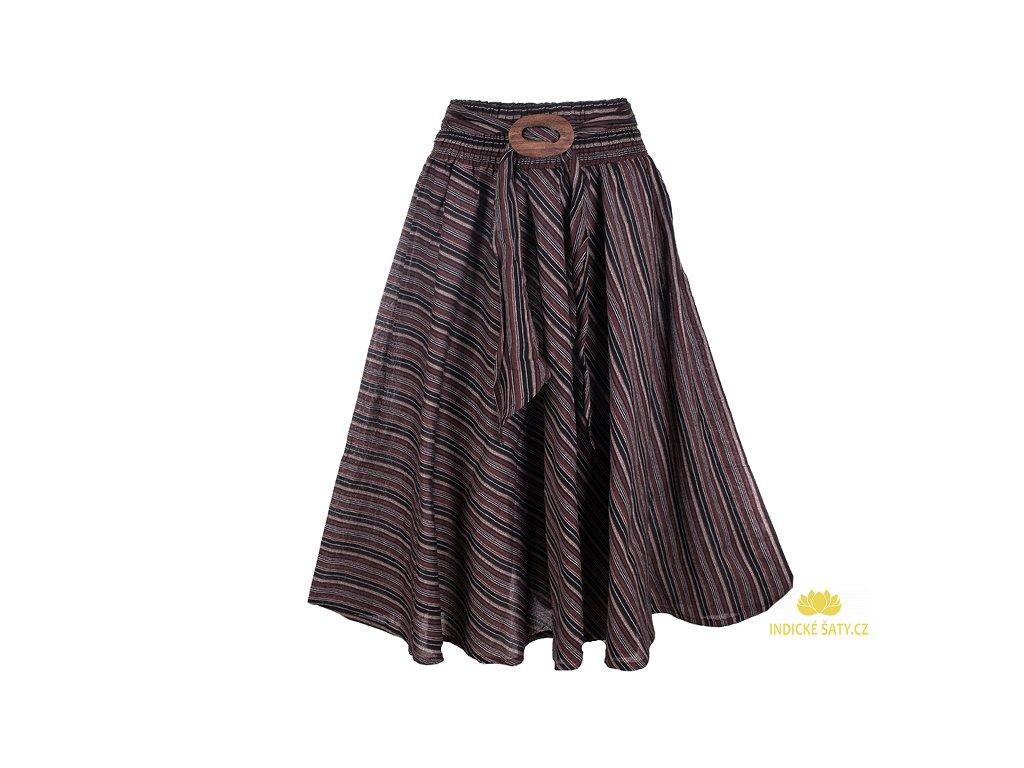 Dlouhá bavlněná sukně se sponou pruhovaná hnědá
