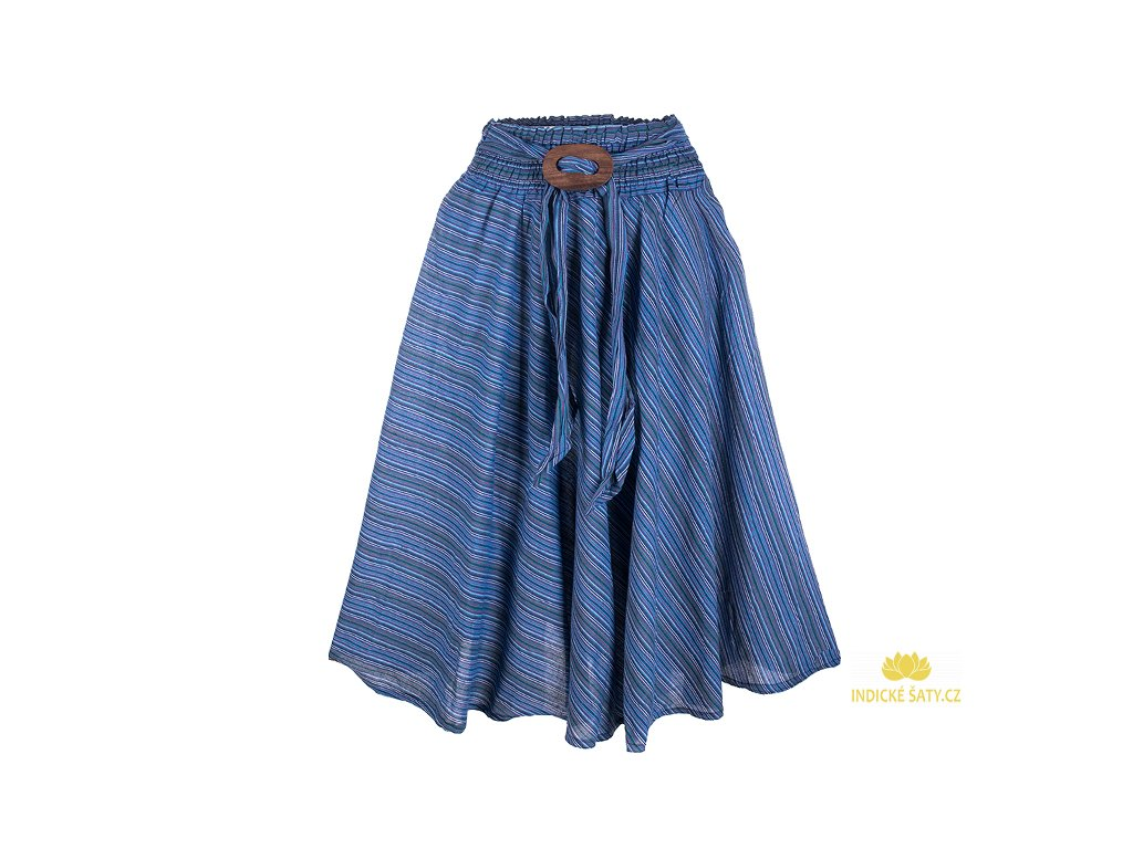 Dlouhá bavlněná sukně se sponou pruhovaná modrofialová
