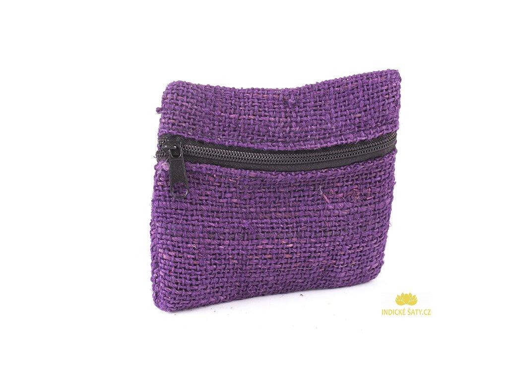 Praktická kapsička z konopné látky zvonkově fialová