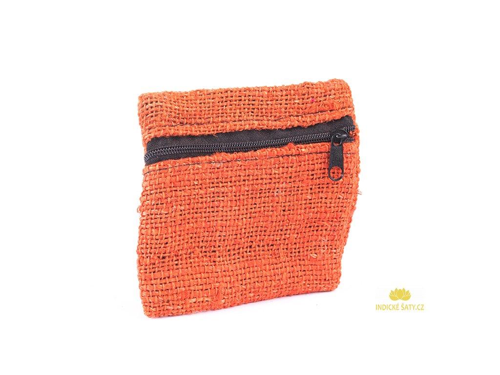 Praktická kapsička z konopné látky liškově oranžová