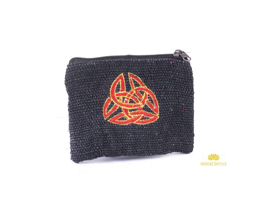 Praktická vyšívaná kapsička z konopné látky Keltika černá
