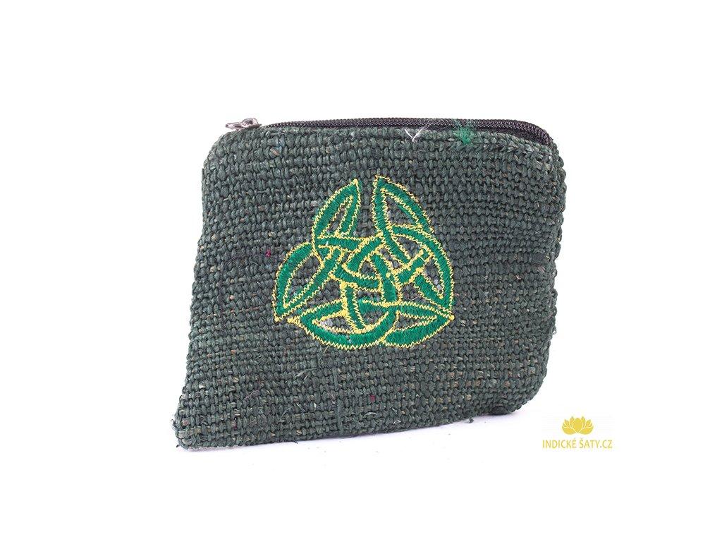 Praktická vyšívaná kapsička z konopné látky Keltika zelená