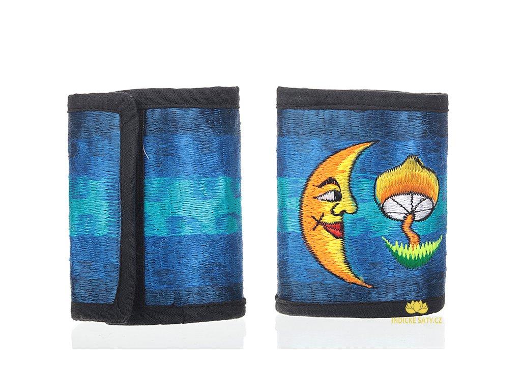 Bavlněná vyšívaná peněženka Měsíc a houba