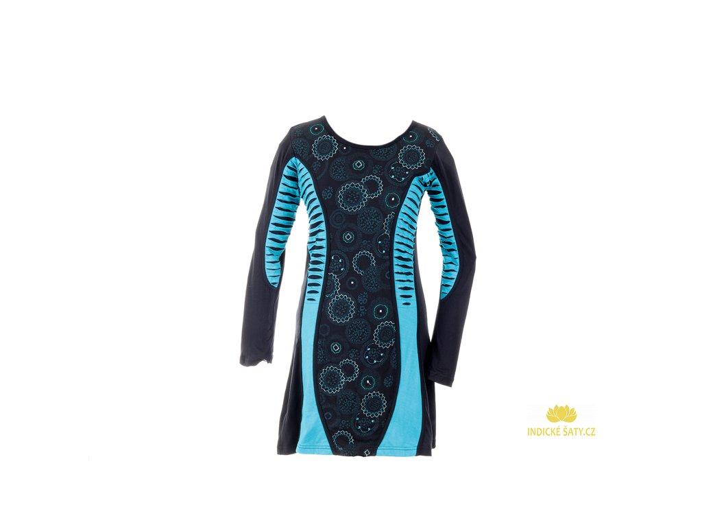 Šaty s dlouhým rukávem černomodré s mandalami