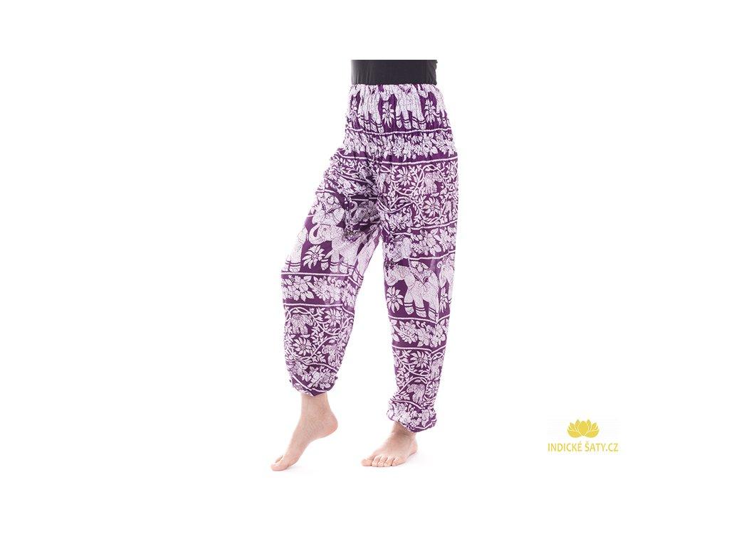 indické kalhoty sloni fialové