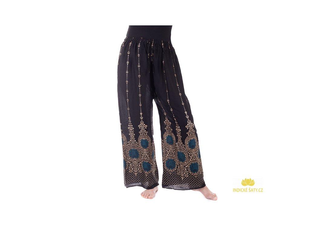orientální kalhoty se zlatým tiskem černé