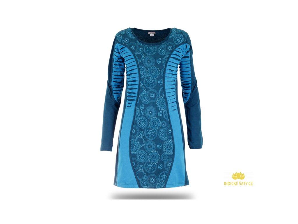 Šaty s dlouhým rukávem modré s mandalami