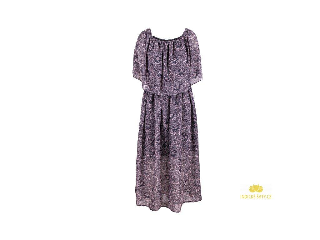 Dlouhé šifonové šaty šedé s květy